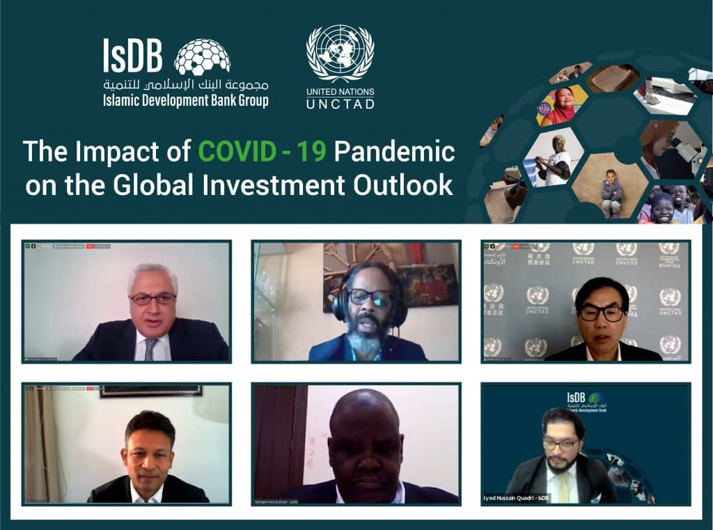 The Islamic Development Bank Group, in cooperation with the United Nations Conference on Trade and Development, organized a webinar on the Impact of COVID-19 Pandemic on the Global Investment Outlook